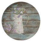 rustic country lavender whitewash blue barn wood plate