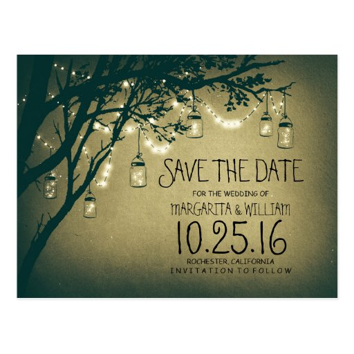 rustic country lights mason jars save the date post card