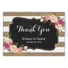 Rustic Country Linen Burlap Floral Thank You Card