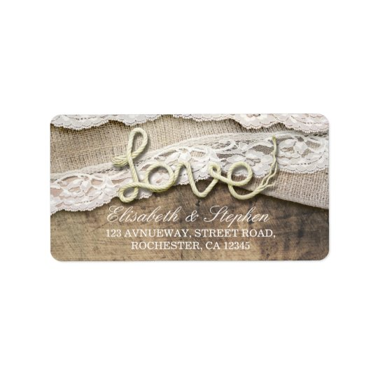 Rustic Country Love Rope Burlap Lace Wood Wedding Address Label