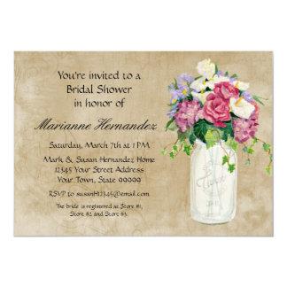 Rustic Country Mason Jar Bouquet Crackle Swirls 13 Cm X 18 Cm Invitation Card