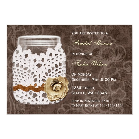 rustic country mason jar Bridal Shower Invitation