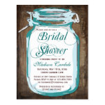 Rustic Country Mason Jar Bridal Shower Postcards
