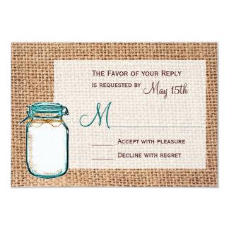 Rustic Country Mason Jar Burlap Wedding RSVP Cards 9 Cm X 13 Cm Invitation Card