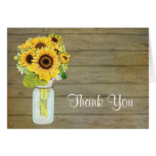 Rustic Country Mason Jar Flowers Sunflower Bouquet Card