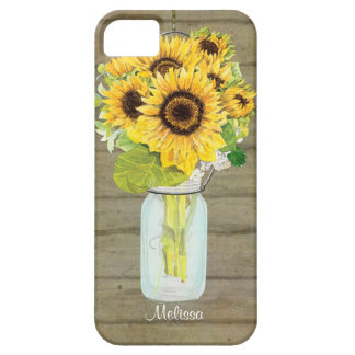 Rustic Country Mason Jar Flowers Sunflower Hanging iPhone 5 Case