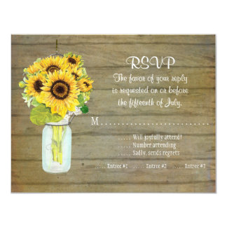 Rustic Country Mason Jar Flowers Sunflower RSVP Card