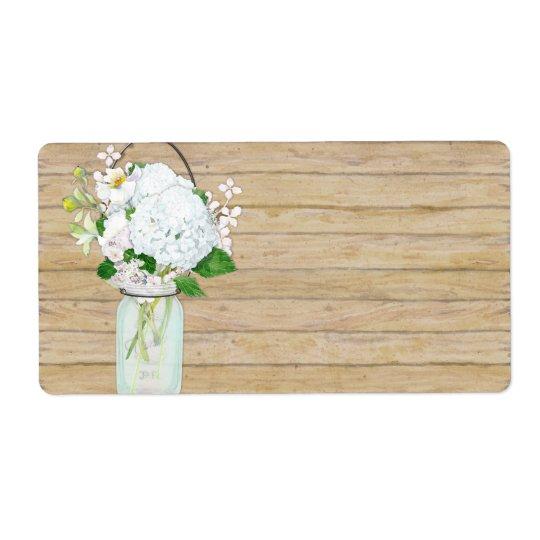Rustic Country Mason Jar Flowers White Hydrangeas
