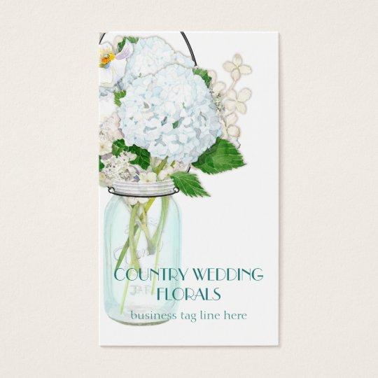 Rustic Country Mason Jar Flowers White Hydrangeas Business