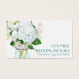 Rustic Country Mason Jar Flowers White Hydrangeas Business Card