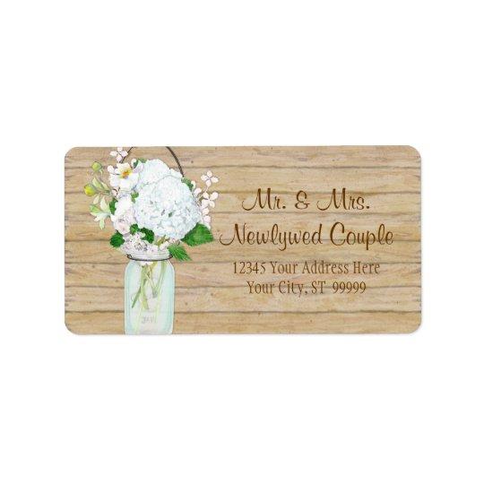 Rustic Country Mason Jar Flowers White Hydrangeas Label