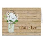 Rustic Country Mason Jar Flowers White Hydrangeas Note Card