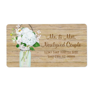 Rustic Country Mason Jar Flowers White Hydrangeas Shipping Label