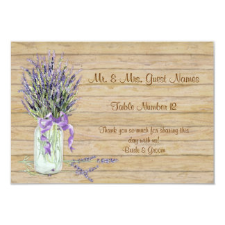 Rustic Country Mason Jar French Lavender Bouquet 3.5x5 Paper Invitation Card
