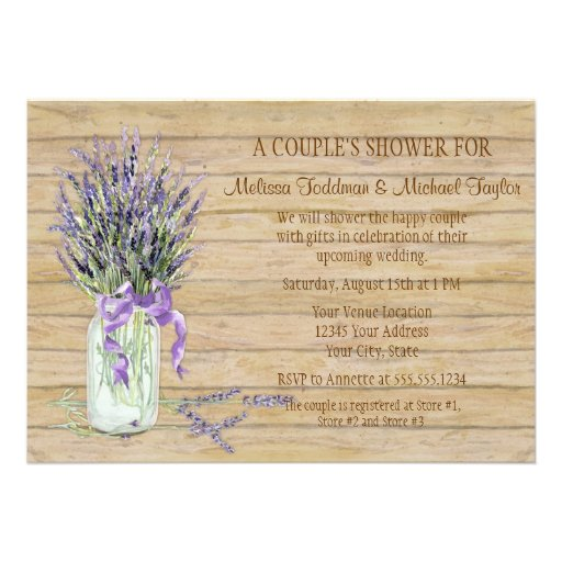 Rustic Country Mason Jar French Lavender Bouquet Custom Invitation