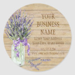 Rustic Country Mason Jar French Lavender Bouquet Round Sticker