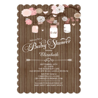 Rustic Country Mason Jar Girls Baby Shower Personalized Announcement