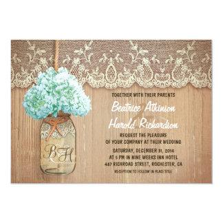 rustic country mason jar hydrangea wedding card