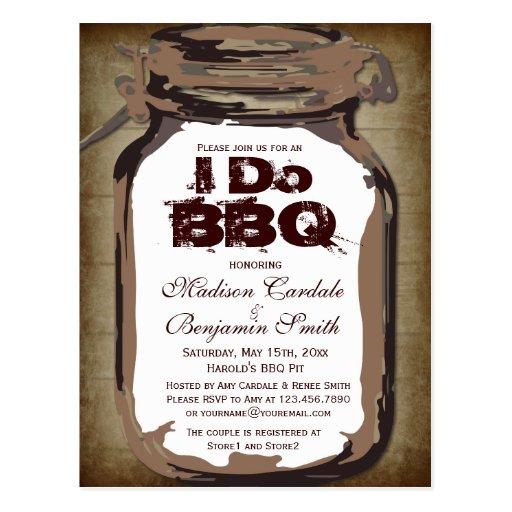 Rustic Country Mason Jar I Do BBQ Postcards