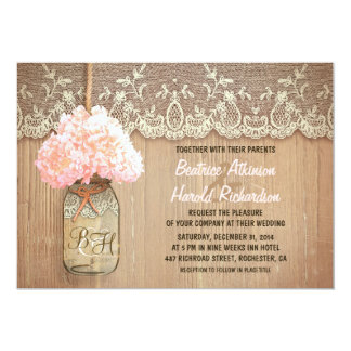 rustic country mason jar pink hydrangea wedding 13 cm x 18 cm invitation card