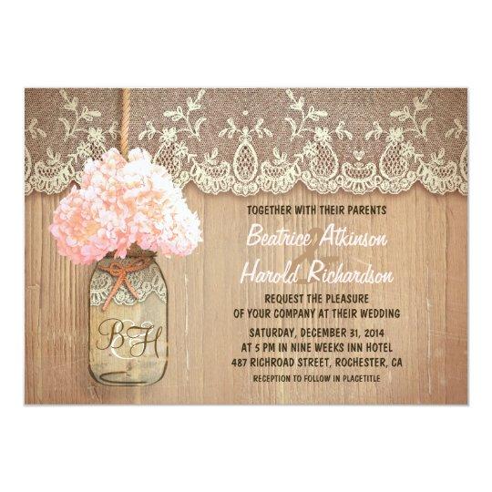 rustic country mason jar pink hydrangea wedding card