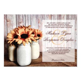 "Rustic Country Mason Jar Sunflowers Wedding Invite 5"" X 7"" Invitation Card"