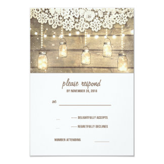 Rustic Country Mason Jars Lights Lace Wood RSVP 9 Cm X 13 Cm Invitation Card