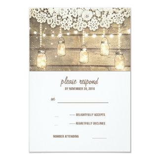Rustic Country Mason Jars Lights Lace Wood RSVP 9 Cm X 13 Cm Invitation Card