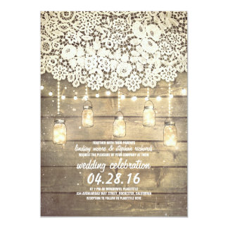 Rustic Country Mason Jars Lights Lace Wood Wedding 13 Cm X 18 Cm Invitation Card
