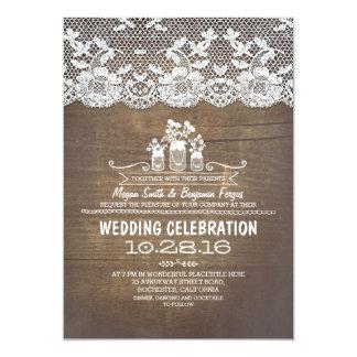Rustic country mason jars wood lace wedding invite