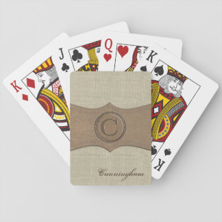 Rustic Country Monogram Letter C Playing Cards