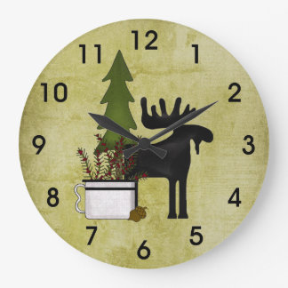 Rustic Country Mountain Silhouette Moose Large Clock