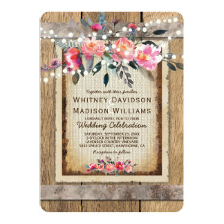 Rustic Country Oak Barrel Burlap and Wood Wedding Card