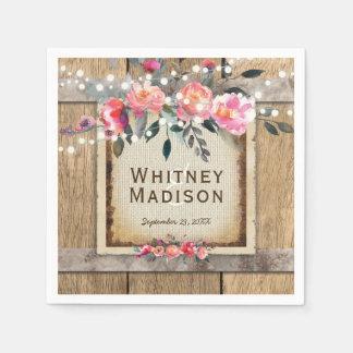 Rustic Country Oak Barrel Burlap and Wood Wedding Paper Napkin