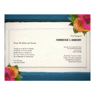 Rustic Country Painted Wood Wedding Program Full Color Flyer