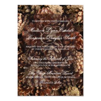 Rustic Country Pine Cone Wedding Invitations