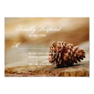 Rustic Country Pine Cone Wedding RSVP Cards 9 Cm X 13 Cm Invitation Card