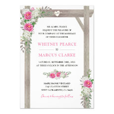 Rustic Country Pink Floral Arch Formal Wedding Invitation