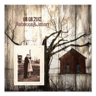 Rustic country Red Barn Winter Wedding Photo Art