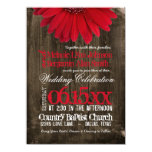 Rustic Country Red Daisy Wood Wedding Invitations