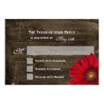 Rustic Country Red Daisy Wood Wedding RSVP Cards 9 Cm X 13 Cm Invitation Card