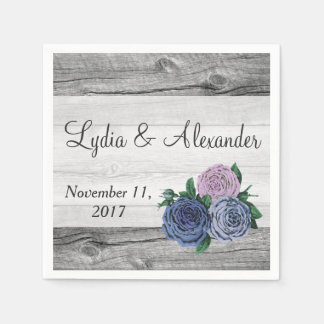 Rustic Country Roses Barn Wood Wedding Paper Napkin