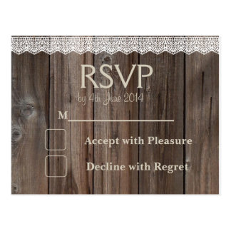 Rustic Country RSVP card wedding lace wood Postcard