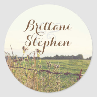 Rustic Country Rural Fence Classic Round Sticker