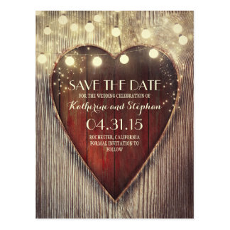 Rustic country save the date & carved heart lights postcard