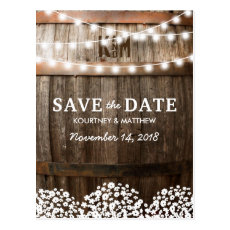 Rustic Country string of lights Save the Date Postcard