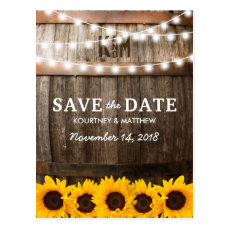 Rustic Country Save the Date | Sunflower Lights