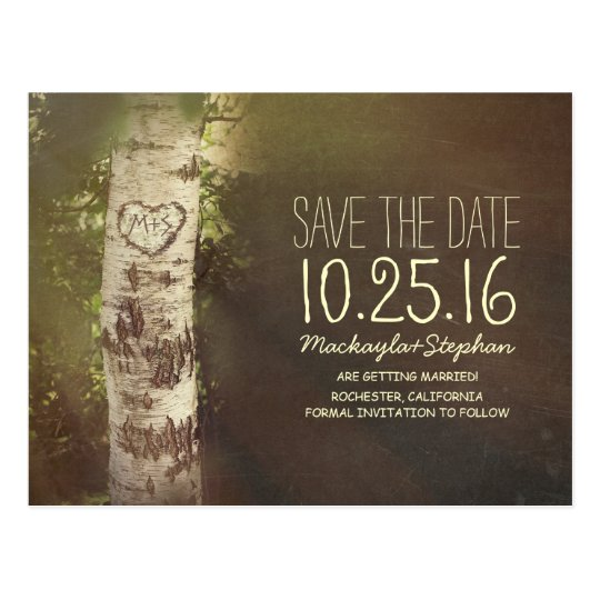 Rustic country save the date with birch tree