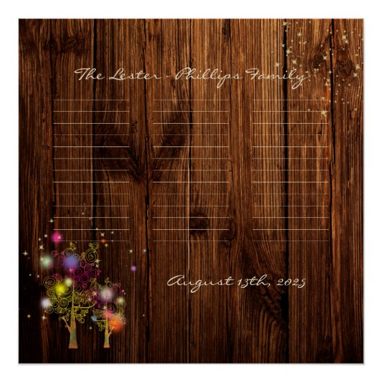 Rustic Country Spiral Trees Wedding Poster