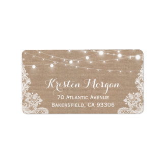 Rustic Country String Lights Lace Burlap Wedding Address Label